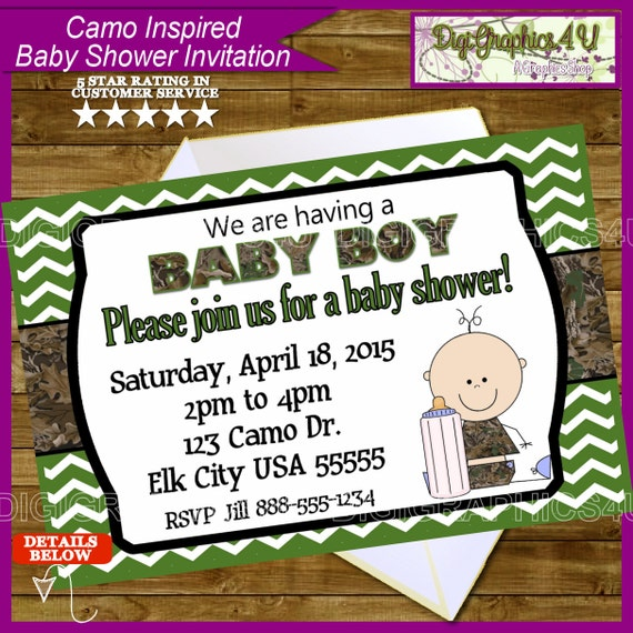 camo camouflage baby shower printable invitation by digigraphics4u