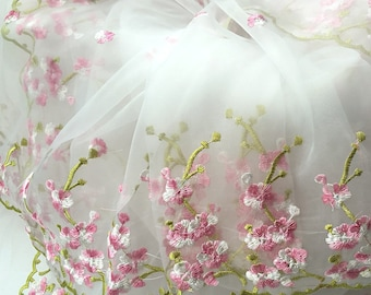 "1 Yard Lace Fabric White Organza Pink Floral Embroidery Wedding Fabric Bridal 51"" width"