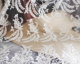 """1 Yard High Quality Venice Lace Fabric Ivory Floral Exquisite Alice Embroidered Wedding Bridal 51"""" width"""
