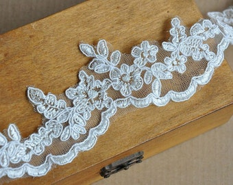 "1 Yard Lace Trim Ivory White Alencon Luxury Wedding Scalloped Embroidered 1.77"" width"