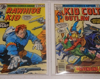 2 Vintage .35 COMIC BOOKS- Rawhide Kid & Kid Colt Outlaw 1977 1979 Marvel Stan Lee