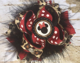 Leopard Print Minnie Mouse Fluffy Bow