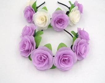 Purple Flower Crown,Purple Rose Headband,Purple Flower Headband,Purple Rose Crown,Women,Adult,Girls,Hair band,Wedding Festival Crown