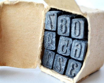 Vintage Numbers rubber Stamp, Arabic Numerals Stamp, Printing Blocks, Scrapbooking, Arts Rubber Stamp, miniature stamps, old ink stamps