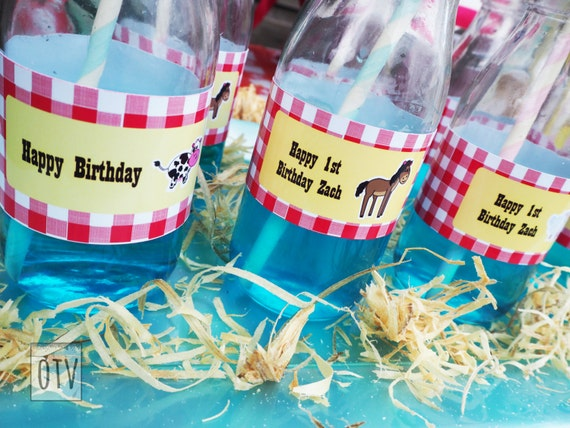 New** BARNYARD Animal - Farm - Personalized - BOTTLE Labels - First - Birthday - Baby Shower - Party - PRINTABLE - Digital File - Pdf