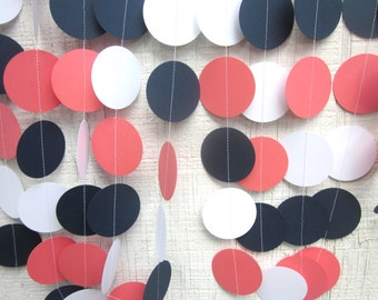 Navy, White, and Coral Paper Circles Garland, Birthday Party, Photo Prop, Wedding Garland, Bridal Shower, Anniversary