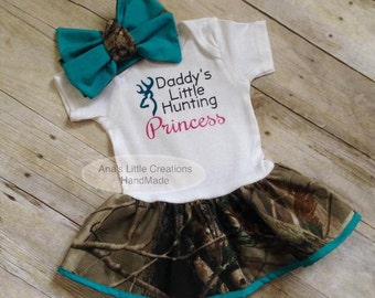 Camo Real Tree Body Suit Dress, RealTree Baby Dress Teal Trim and Self Tied Headwrap/Headband Teal