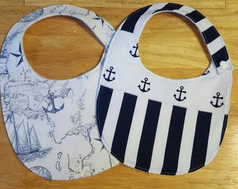 Set of 2 Baby bibs, nautical, anchor, stripes, baby boy, baby shower, gift