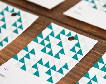 Teal Triangle Pattern Letterpress Gift Tag - Set of 6