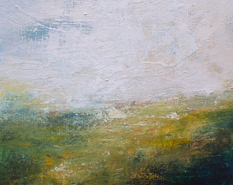 Original abstract  painting,Mid- Summer, acrylic landscape , atmospheric, modern art, 6x6 inches FREE SHIPPING