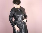 Amazing black PATENT coat - Young Look by Alligator - Slick wetlook vinyl rain coat - Mod space age punk swinging london M