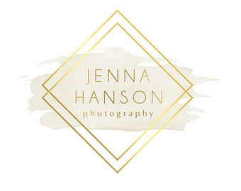 Pre-made Logo Design & Photo Watermark - Watercolor logo - Blog Header - Facebook profile picture - Gold Logo - Photography Logo 806