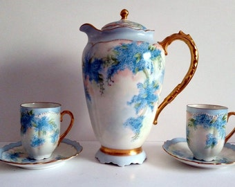 Antique O & E.G. Royal Austria STUNNING Chocolate Pot w/ cups and saucers PRISTINE- Forget-me-not flowers! Victorian/French Country!