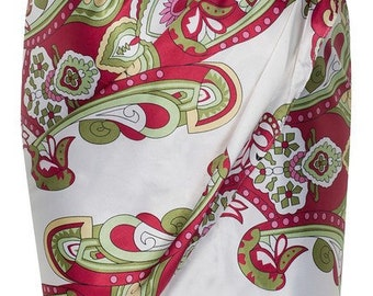 Scarf print pure silk sarong skirt by ROSAvelt in vibrant pink red and green pattern