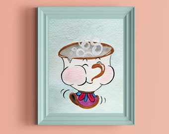 Disney Beauty and the Beast Chip Blowing Bubbles Original Watercolor Painting