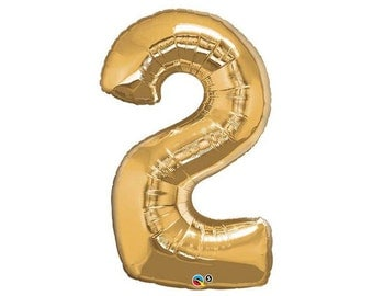 GOLD NUMBER 2 BALLOON 86cm - Number Two (2) Foil Gold Balloon - Helium  (86cm / 34 Inches)