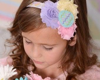 Easter Egg Headband - Easter Headband for Girls - Baby Headband for Easter - Pastel Headband - Boutique Flower Headband for Toddlers