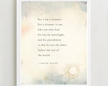 Oscar Wilde dreams quote poster, wall decor, typography print, inspirational quote, dreamers art, moon art