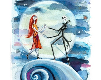 "Jack and Sally 5x7"" Print on Lustre Paper."