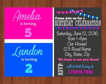 ON SALE - Pink and Blue Sibling Invitation - Twin Birthday Invitation - Sibling Birthday Invitation - Split Invitation - Joint Party