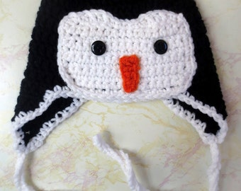 Penguin Hat - Baby penguin hat - Girl Penguin Hat - Boy Penguin Hat - Crochet Penguin Hat - Crochet Penguin - Penguin Hat with optional bow