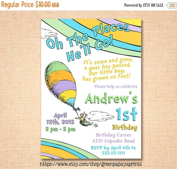 25% Off SALE Oh The Places You'll Go Birthday By