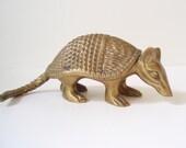 Cute Heavy Solid Brass Armadillo Figurine/ Armadillo Doorstop/ Brass Statue Figure/ Brass Animal/ Brass Paperweight/ Southwest Decor Texas