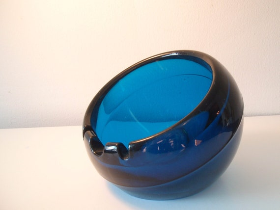 Large Vintage Viking Glass Orb Ashtray Cobalt Blue Art Glass