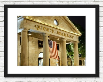 Boston Photography, Quincy Market, Boston Art, Night Photograph, Home Decor, Wall Art