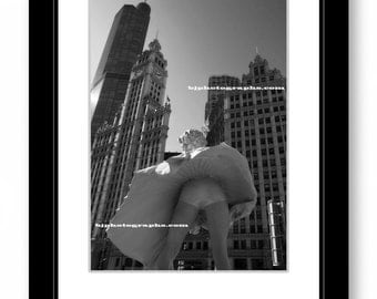 MARILYN MONROE, Trump Tower, Wrigley Building, Architecture, Chicago, Black and White Photography, Office Decor, Wall Decor.