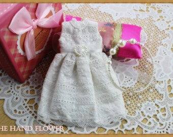 Vintage white Dress, Blythe clothes,