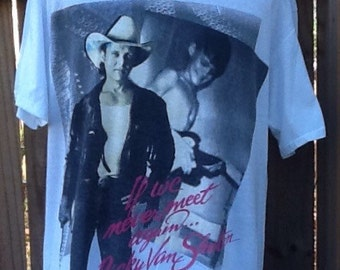 "Vintage 1988 XL Ricky Van Shelton ""I'll Leave This World Loving You"" concert t-shirt. ""If we never meet again..."" Handtex brand shirt, 50% p"