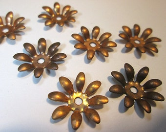 8 Vintage Copper Flower Findings