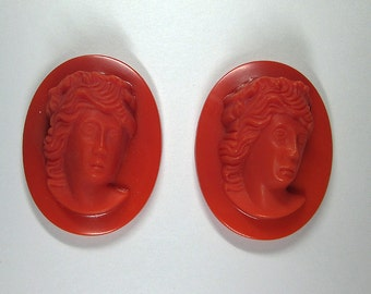 Two Vintage Deep Relief Red Glass Cameo