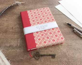 Red Diamond Journal, A5 Lined Notebook, Italian Carte Varese with Bronze Key Trinket Charm