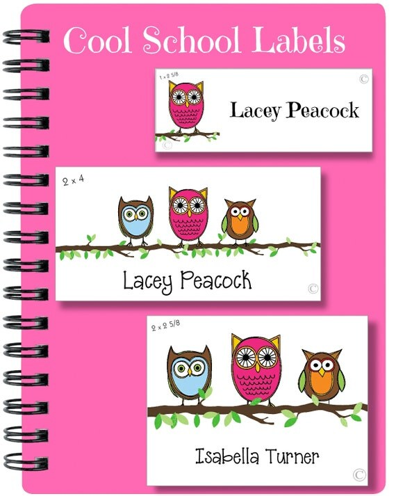 Owl Stickers, School Labels, Back to School, Owls, Personalized Stickers, Personalized Labels, Owl Labels, Tags