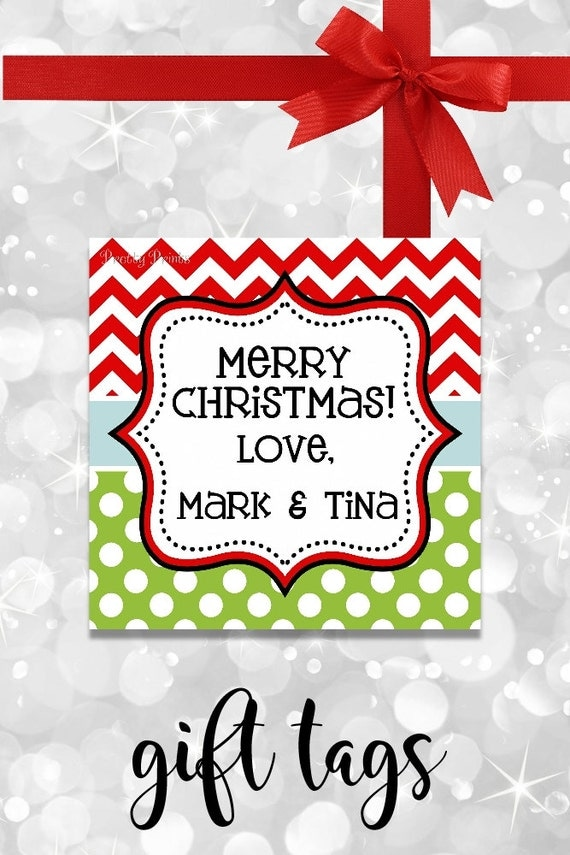 Chevron Dots Christmas Gift Tags - Printable - Personalized Christmas Tags - Polka Dots - Christmas Gift Tags