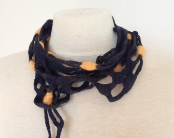 Fishnet Scarf, Navy Blue Skinny Scarf, Nuno Felted Scarf, Silk Wool Necklace Scarf, Unique Handmade Scarf, Wearable Fiber Art Scarf
