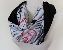 Music Scarf, Music Notes Scarf, Guitar Scarf, Piano Scarf, Gift For Musician, Musical Scarf, Music Notes, Musical Print Scarf, Gift For Her