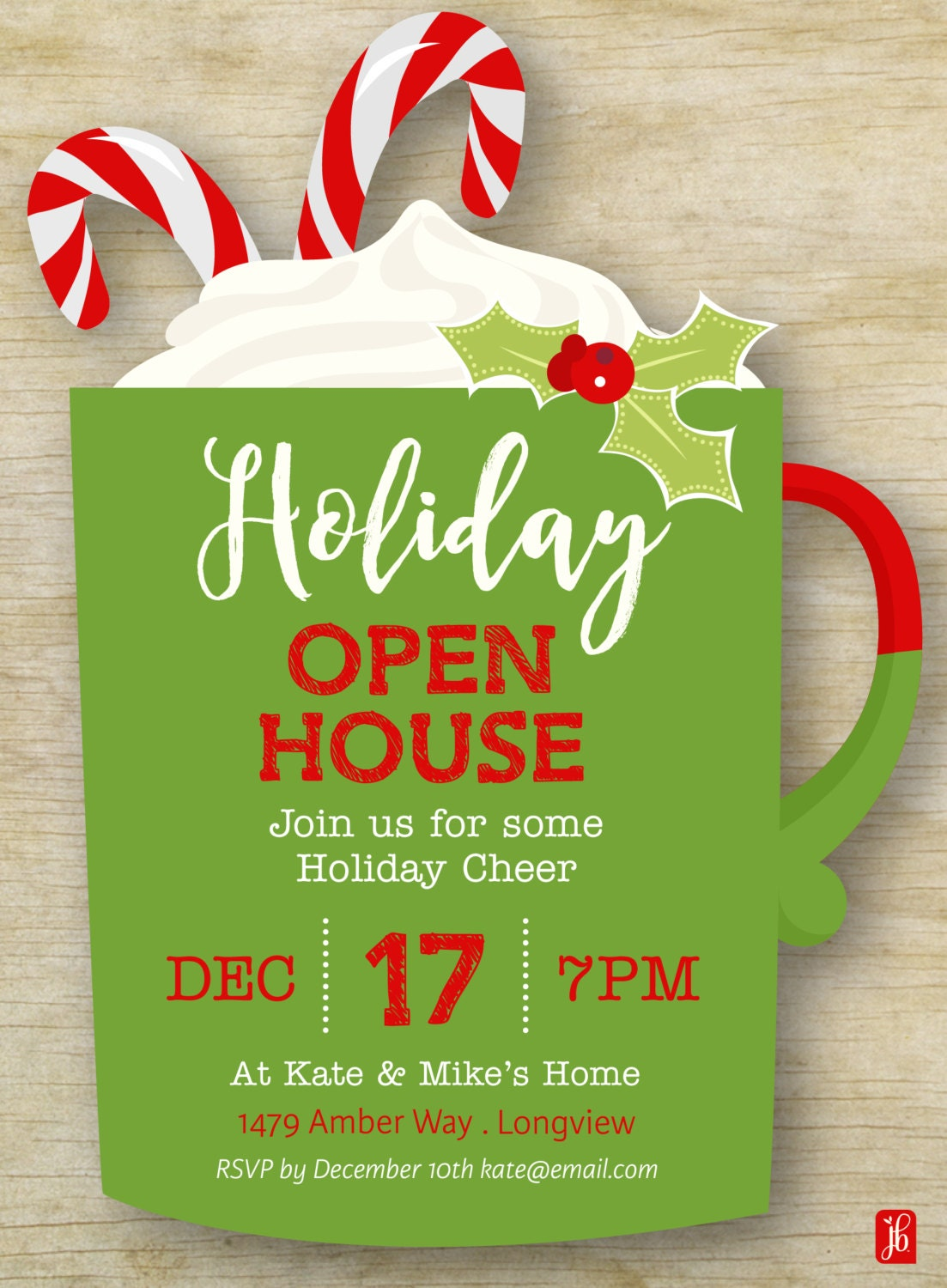 Custom Holiday Open House Invitation | Christmas Mug Personalized ...
