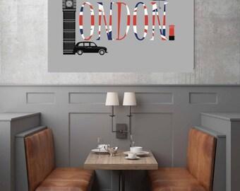 London Poster, Skyline Art, Union Jack Decor, Printable Wall Art, Boyfriend Gift, Digital Print, Instant Download Printable Art, City Prints