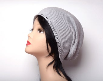 gray beanie summer hat grey hat womens knitted hat knit beanie knitted cotton hat summer beanie skull hat chemo hat hipster boho beanie