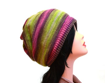Chunky knit hat fashion gift knitted hat fashion hats striped hat for her women hat Slouch Hat winter hat slouchy beanie
