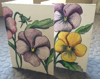 Hand drawn cards - set of 2.