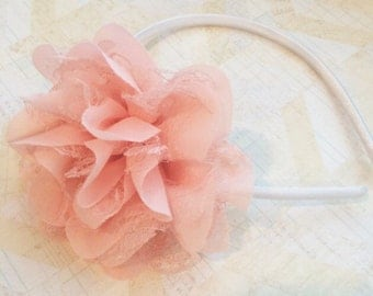 Light coral peach headband,hard satin headband,girls headband,plastic headbands,big lace headband,big headbands,flower girl headbands