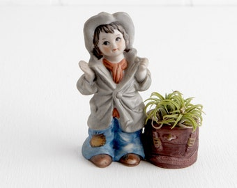 Vintage Little Girl Tealight Holder or Air Plant Holder, Christmas Luvkins