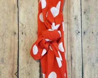 Red and white polka dot headband, Christmas headband, vintage inspired headband, Rosie the riveter turban, knotted headband, knit headband