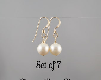 7 pairs of classic earrings, Swarovski pearls, bridesmaid earrings gifts, SALE, Bridal party gifts