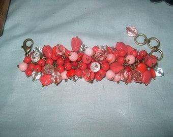 Costume Jewelry Pink Beaded Bracelet