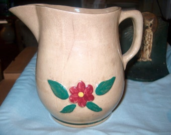 Anntique Vintage Yelloware Pitcher w/ Flower, Wattsware, Pottery, Primitive, WAS 25.00 - 50% = 12.50